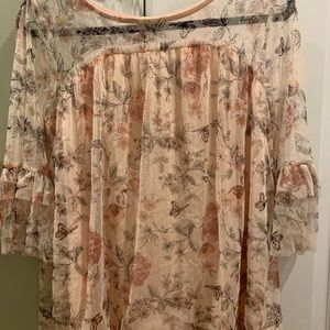 SALE 2 for 15 || Floral Pale Pink Blouse